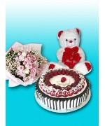 "2.2 lbs Ittalian Black Forest  Cake , 10 "" teddy bear , 2 dozen Pink roses"