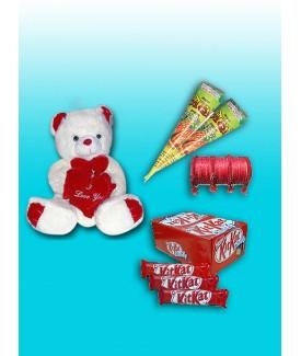 "10"" teddy bear , 2 Kon Mehndi ,Chori Set ,24 Pcs KitKat Chocolate"