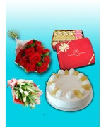 2.2 lbs pineapple Cake , 1 kg Pc Hotel Mithai , 2 Dozen Red Roses , imported Lilies Bunch