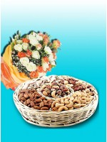 imported Mix Flower Bunch , 1 kg Dry Fruit Basket