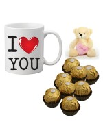 "Personalized Mug Filled With 8 Pcs Ferraro Rochers Chocolate 4"" Teddy Bear"