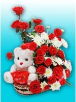 Teddy Bear Roses Basket