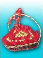 4 Dozen Roses Heart Basket With Frerro