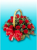 4 Dozen Red Roses Basket