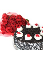 2.2 lbs Black Forest  Cake With 2 Dozen Roses